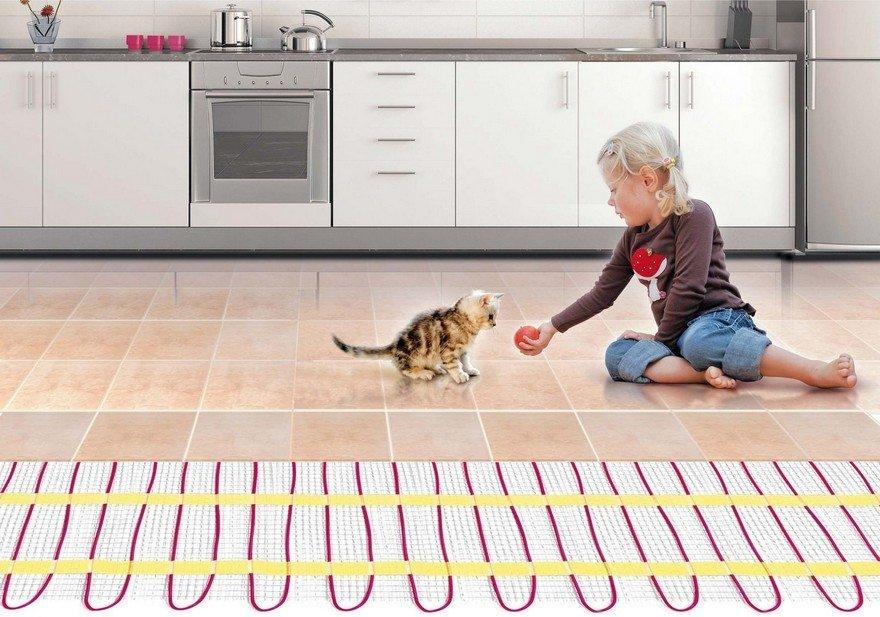 Система теплый пол с нагревательными матами DEVI в кухне